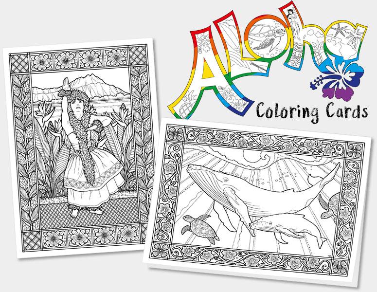 Hawaiian Art | Island Art - Hawaii Aloha Coloring Cards