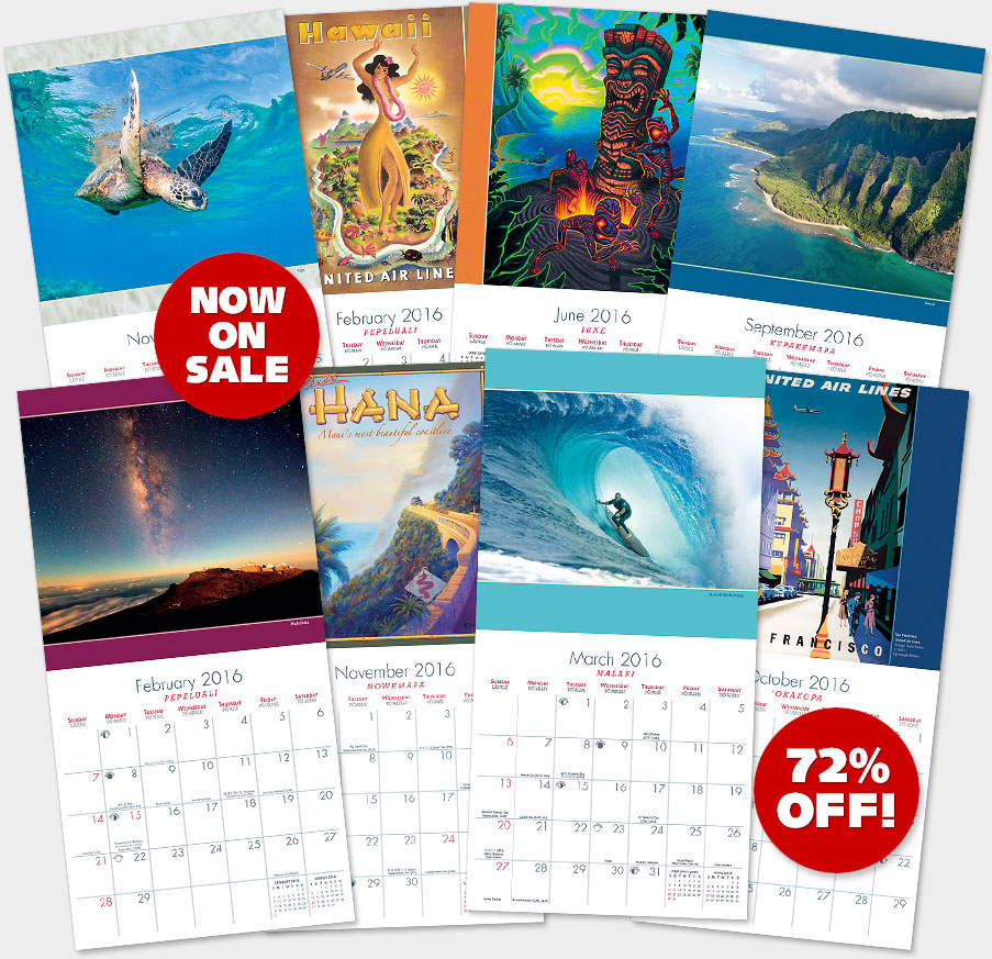 2016 Hawaiian Wall Calendars - Now on Sale at 72% OFF!