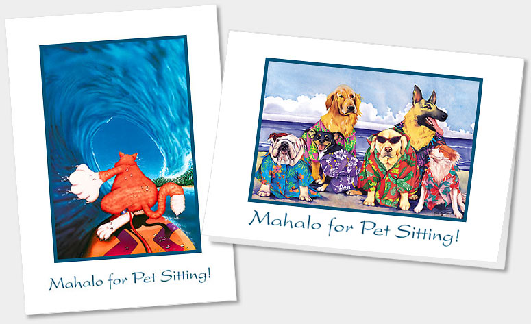 PET SITTING GREETING CARDS