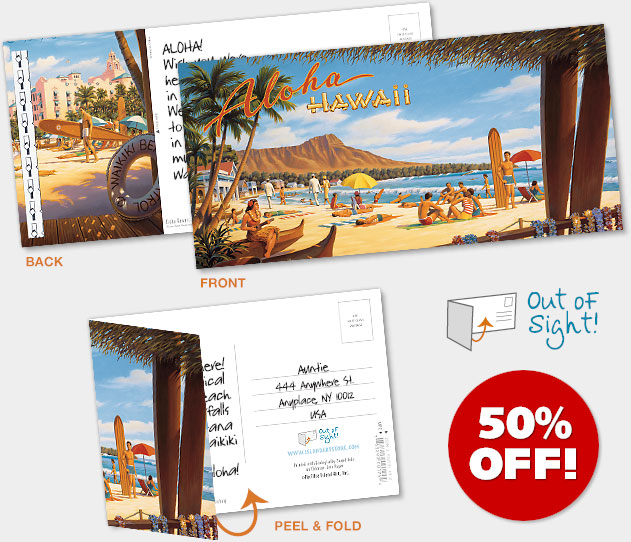 Hawaiian Foldable Postcards - ON SALE 50% OFF!