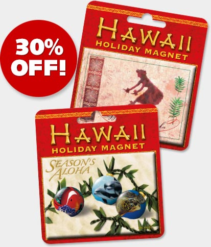 Hawaiian Holiday Christmas Magnets - ON SALE 30% OFF!
