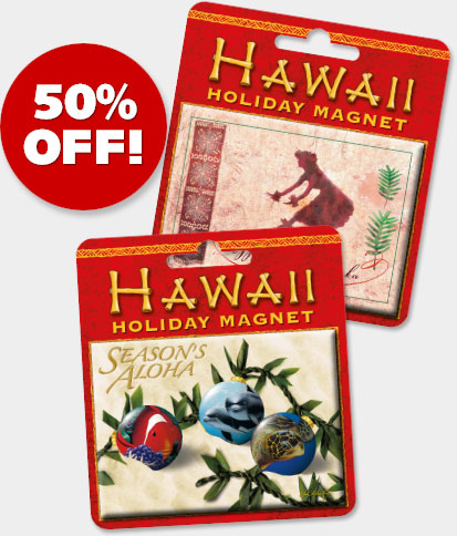 Hawaiian Holiday Christmas Magnets - ON SALE 50% OFF!