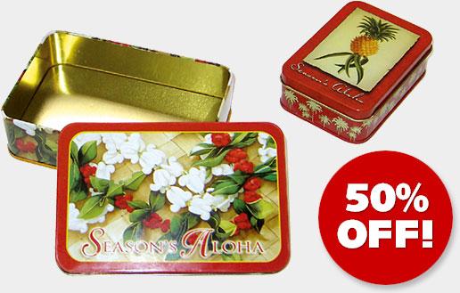 Hawaiian Holiday Christmas TIN BOXES - ON SALE 50% OFF!