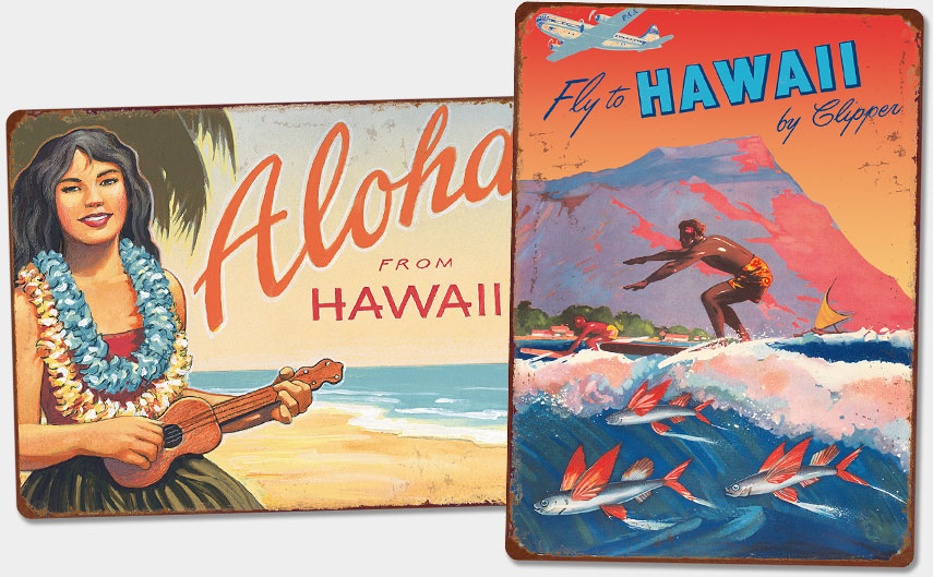 Hawaiian Vintage Metal Signs