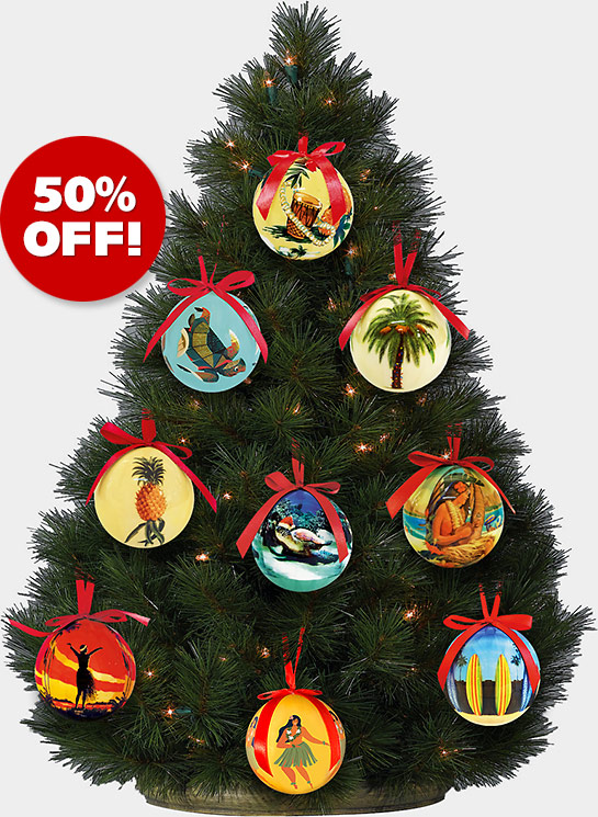 Hawaiian Holiday Christmas Ball Ornaments