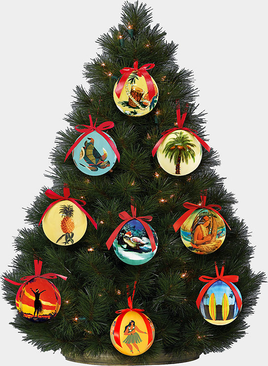 hawaiian holiday christmas ball ornaments