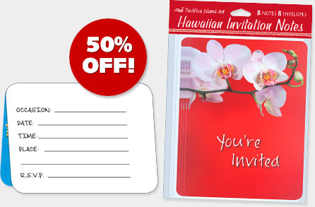Hawaiian INVITATION NOTE CARDS - ON SALE 50% OFF!