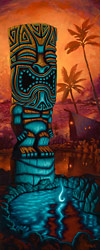 Tiki of the Blue Pool - Fine Art Giclée Print by Brad Parker