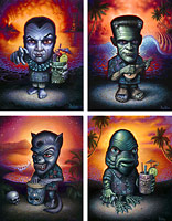 The Monsters on Vacation - Fine Art Giclée Print by Brad Parker