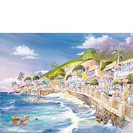 Lahaina Sea Wall - Limited Edition Watercolor Giclée Art Print