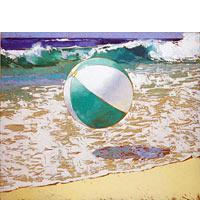 Aqua And White Beach Ball - Limited Edition Giclée Canvas Prints