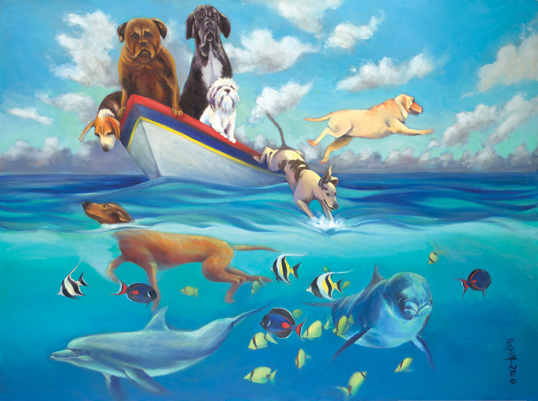 Hawaiian Artists Showcase - Swimming with Dolphins - Limited Edition ...
