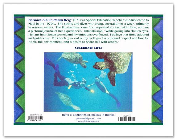 Honu the Green Sea Turtle - book back cover