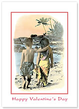 Young Sweethearts - Hawaiian Collectors Edition Greeting Cards - Valentine's Day Card