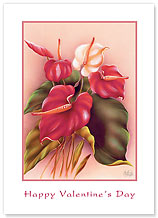 Hale Pua Anthurium - Hawaiian Collectors Edition Greeting Cards - Valentine's Day Card