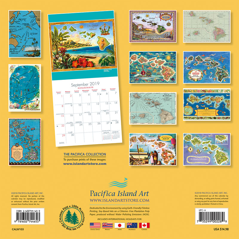 2019 Wall Calendar - Vintage Maps of Hawaii - Collection of Vintage ...