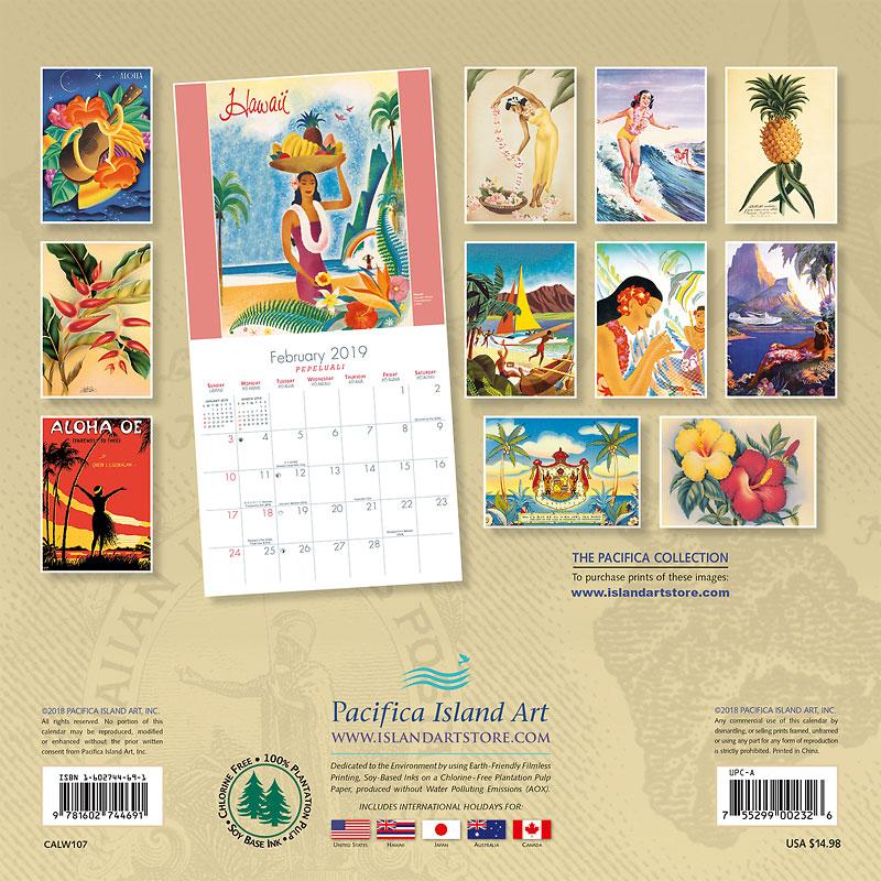 2019 Wall Calendar - Vintage Hawaiian Art - Collection of Vintage ...