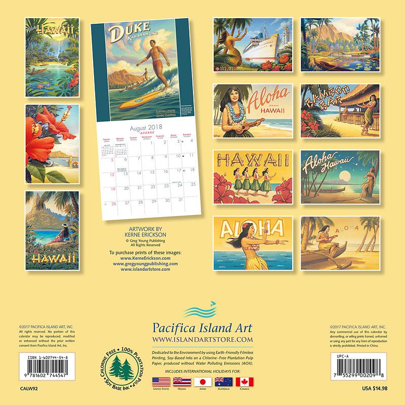 2018 Wall Calendar - Aloha Hawaii - Vintage Hawaiian Art of Kerne ...