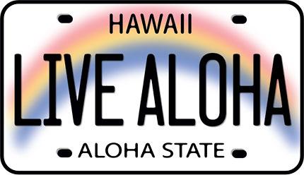 Hawaii Decal Live Aloha License Plate