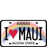 I Heart Maui License Plate - Hawaii Decal