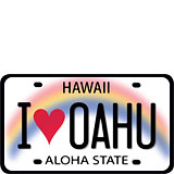 I Heart Oahu License Plate - Hawaii Decal