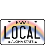 Local License Plate - Hawaii Decal