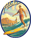 Aloha Surfer - Hawaii Decal