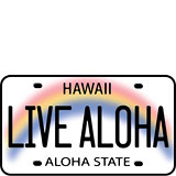 Live Aloha License Plate - Hawaii Decal