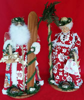Red Hibiscus Santa Claus & Tutu Set - Hawaiian Dolls