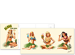 Tropical Drink Girls - Hawaiian Foldable Postcards
