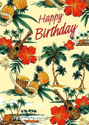 Hawaiian happy birthday greeting card island scene hawaiian happy birthday greeting card m4hsunfo