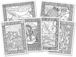 Set of 6 Assorted Aloha Coloring Cards - Hawaiian Premium Aloha Coloring Greeting Cards
