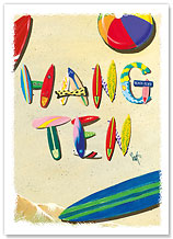 Hang Ten - Hawaiian Everyday Glossy Blank Greeting Cards