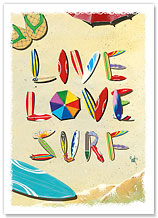 Live Love Surf - Hawaiian Everyday Glossy Blank Greeting Cards