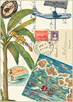 Vintage Collage - Hawaiian Everyday Blank Greeting Card