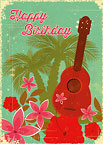 Hawaiian Birthday Ukulele - Hawaiian Happy Birthday Greeting Card