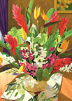 Tropical Bouquet - Hawaiian Happy Birthday Greeting Card