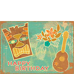 Vintage Tiki and Ukulele - Personalized Greeting Card