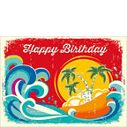Tropical Holiday - Hawaiian Happy Birthday Greeting Card