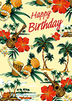 Island Scene - Hawaiian Happy Birthday Greeting Card