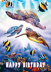 Turtle Dive - Hawaiian Happy Birthday Greeting Card