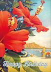 Hibiscus Beach Day  - Hawaiian Happy Birthday Greeting Card