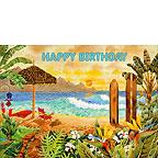 Surfing the Islands - Hawaiian Happy Birthday Greeting Card