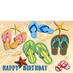 Flip Flop Family - Hawaiian Happy Birthday Greeting Card