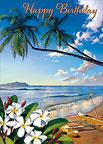 Aloha Shores - Hawaiian Happy Birthday Greeting Card
