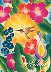 Flowers & Hummingbird - Hawaiian Mahalo / Thank You Greeting Card