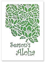 Season's Aloha Lotus - Hawaiian Holiday Christmas Greeting Cards