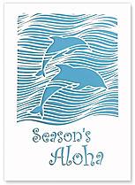Season's Aloha Dolphins - Hawaiian Holiday Christmas Greeting Cards