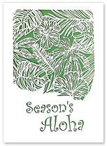 Season's Aloha Small Hibiscus - Hawaiian Holiday Christmas Greeting Cards