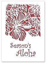 Season's Aloha Big Hibiscus - Hawaiian Holiday Christmas Greeting Cards